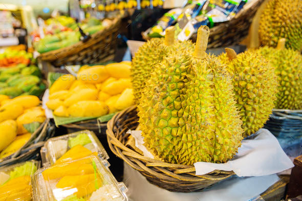 Durian Fruits For Sale On Market Stall - Stock Photo - Images