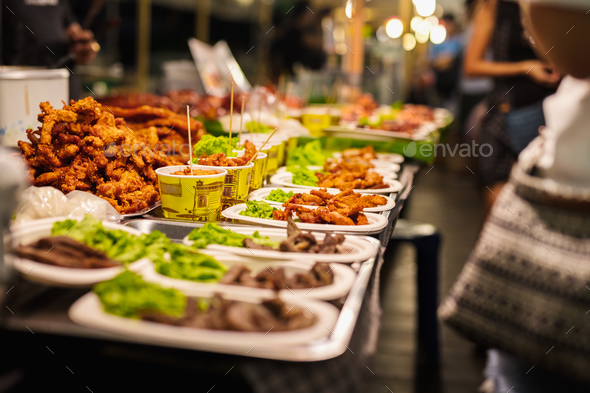 Fried Chicken Stall In Thai Market - Stock Photo - Images