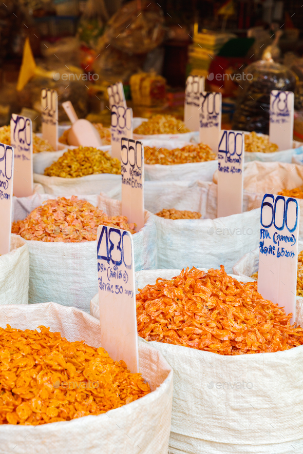 Various Dried Shrimp For Sale At Local Market - Stock Photo - Images