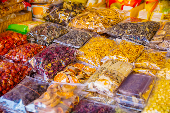 Various Packed Dried Food For Sale At Local Market - Stock Photo - Images
