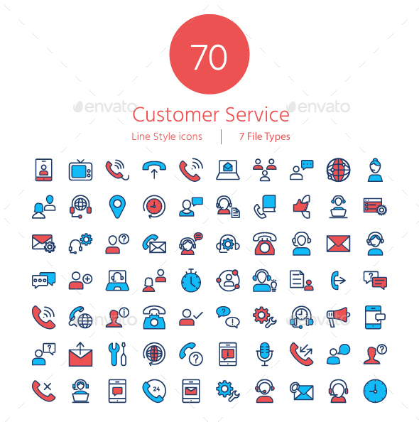 GraphicRiver Customer Services line color icons 20919221