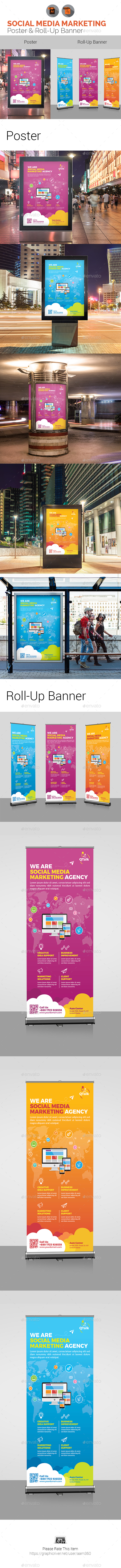Social Media Marketing Poster & Roll-Up Bundle - Signage Print Templates