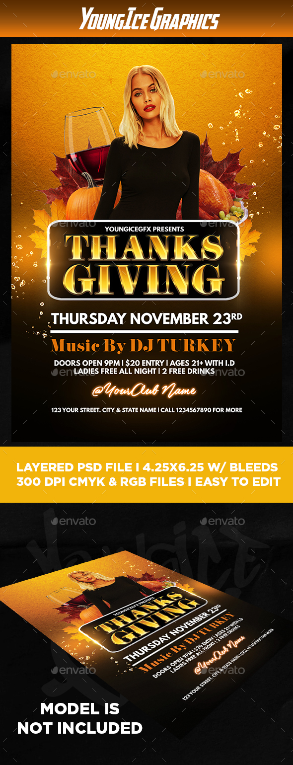 Thanksgiving Flyer Template - Clubs & Parties Events
