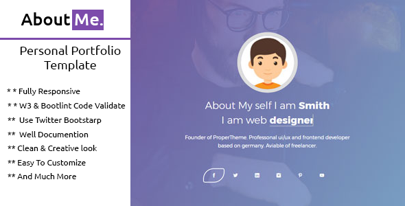 ThemeForest AboutMe Personal Portfolio Template 20919466