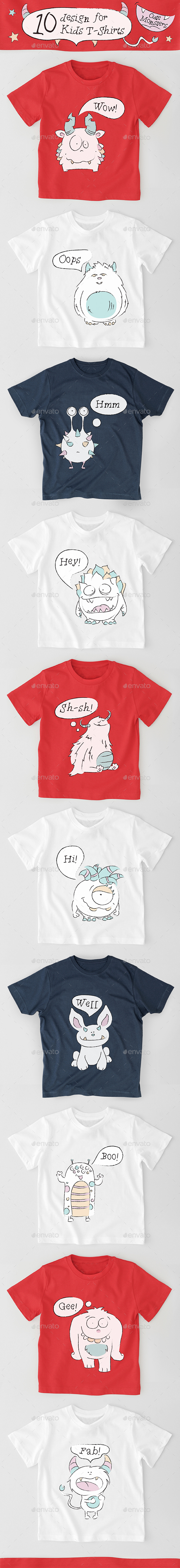 GraphicRiver 10 Kids Cute Monsters T-Shirts Design 20919761