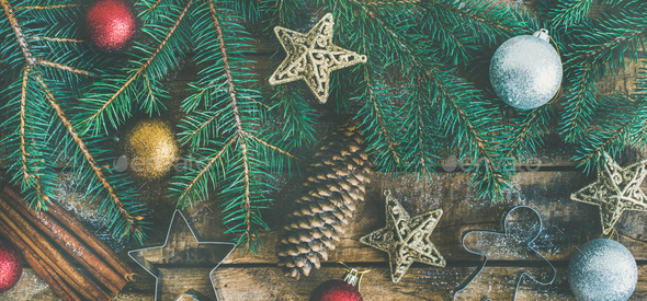 Christmas or New Year holiday flat-lay over wooden background - Stock Photo - Images
