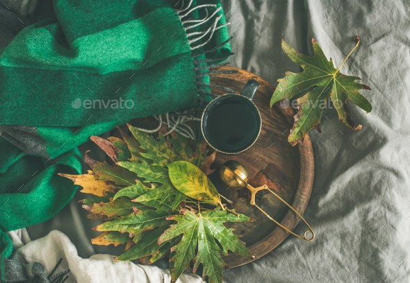 Mug of tea with sieve and autumn leaves, top view - Stock Photo - Images