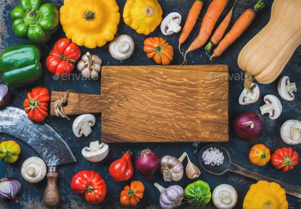 Fall harvest colorful vegetable ingredients for healthy cooking - Stock Photo - Images