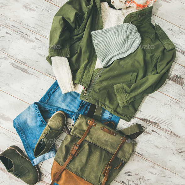 Flat-lay of Fall lady' s clothes outfit, square crop - Stock Photo - Images