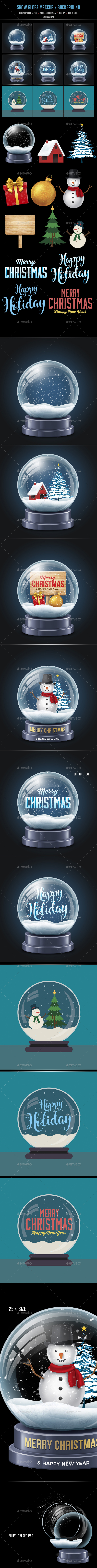 GraphicRiver Snow Globe Mock Up Background Kit 20920583