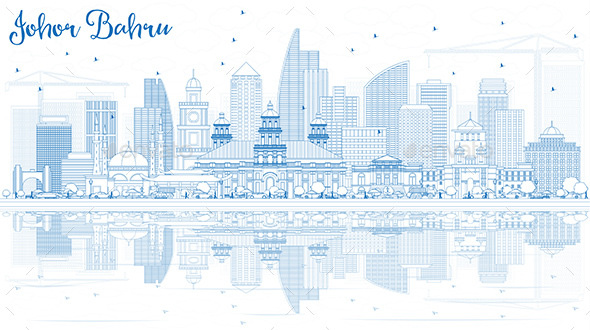GraphicRiver Outline Johor Bahru Malaysia Skyline with Blue Buildings and Reflections 20920784