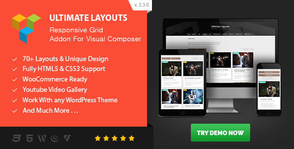 Ultimate Layouts - Responsive Grid & Youtube Video Gallery - Addon For Visual Composer - CodeCanyon Item for Sale