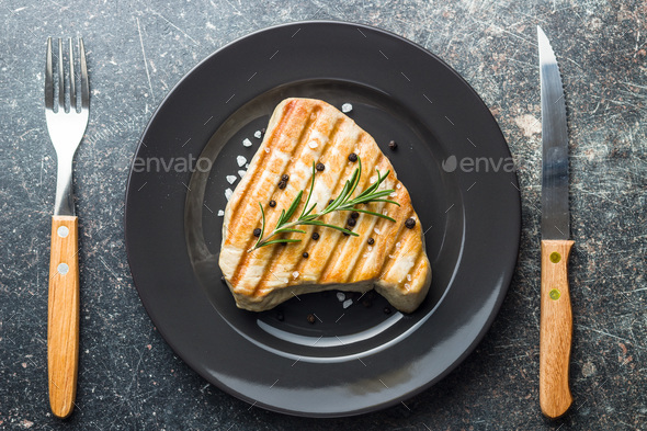 Grilled tuna steak. - Stock Photo - Images