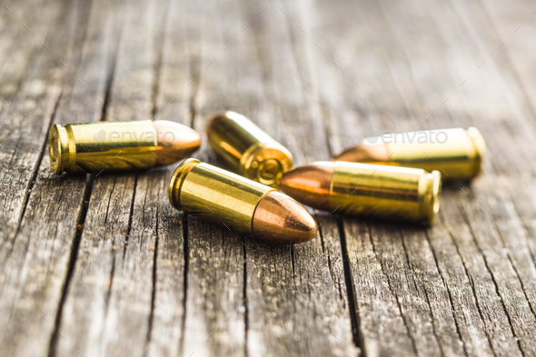 9mm pistol bullets. - Stock Photo - Images