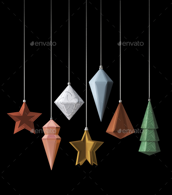 Modern design Christmas decoration metallic 3D - Stock Photo - Images