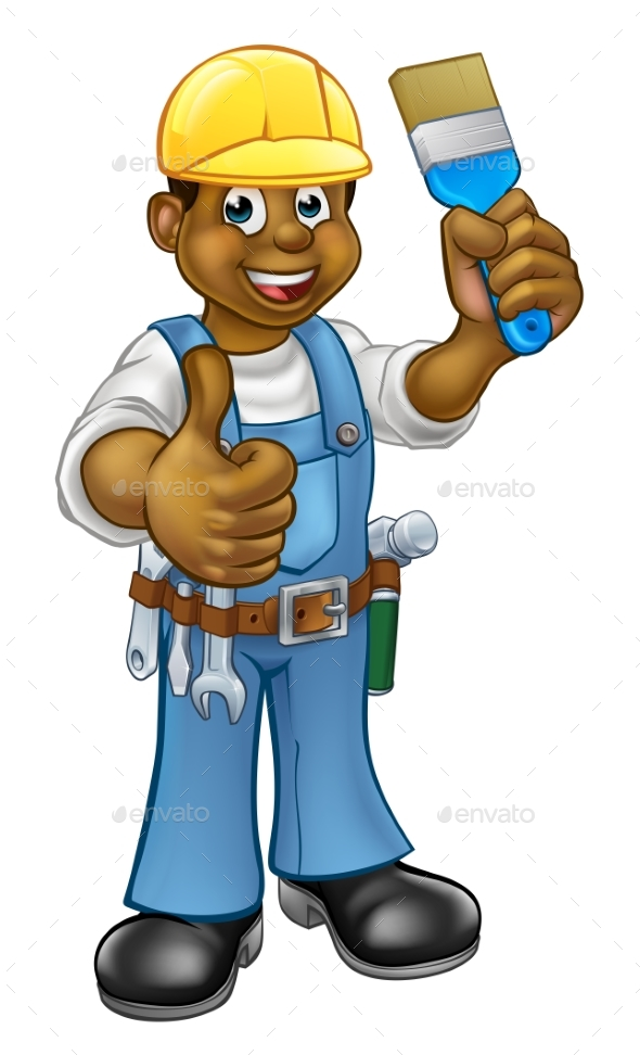 Black Painter Decorator Cartoon Character - People Characters