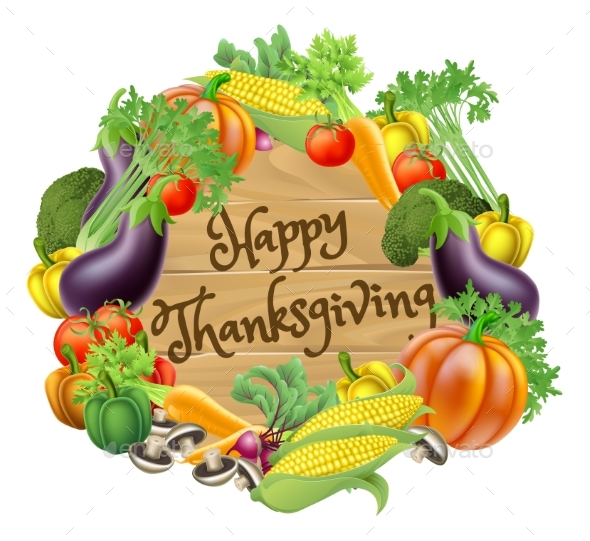 GraphicRiver Happy Thanksgiving Vegetable and Fruits Design 20921220