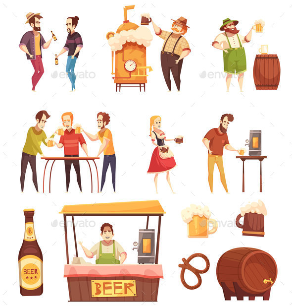 People Drinking Beer Decorative Icons Set - Miscellaneous Vectors