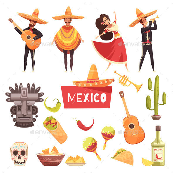 Mexico Decorative Icons Set - Miscellaneous Vectors