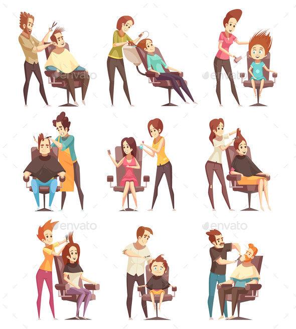 GraphicRiver Hair Salon Treatments Cartoon Icons 20921271