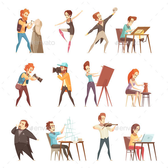 Creative Professions Cartoon Icons Set - People Characters