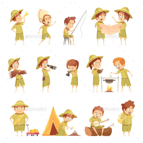 GraphicRiver Boy Scout Retro Cartoon Icons Set 20921275