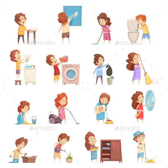 Kids Cleaning Cartoon Icons Set - Miscellaneous Vectors