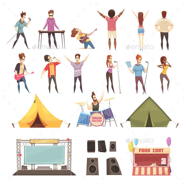 GraphicRiver Open Air Festival Icons Set 20921277