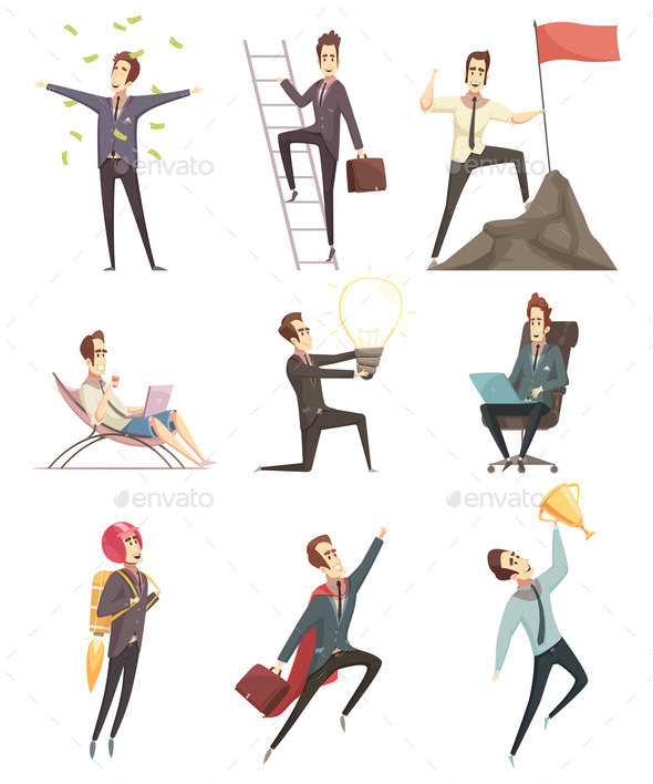 GraphicRiver Successful Businessman Cartoon Icons Collection 20921278