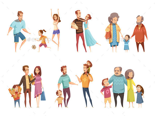 Family Cartoon Set - Sports/Activity Conceptual