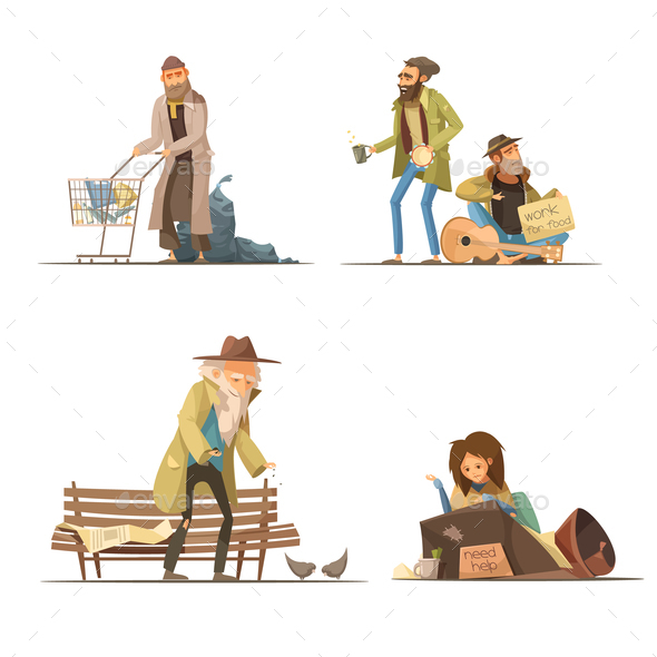 Homeless People Compositions - People Characters