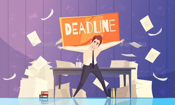 Businessman Deadline Problems Cartoon Illustration - Backgrounds Decorative