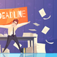 Businessman Deadline Problems Cartoon Illustration