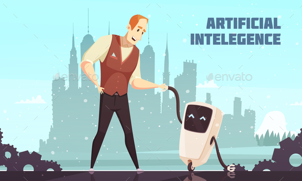 GraphicRiver Artificial Intelligence Robots Assistants Illustration 20921294