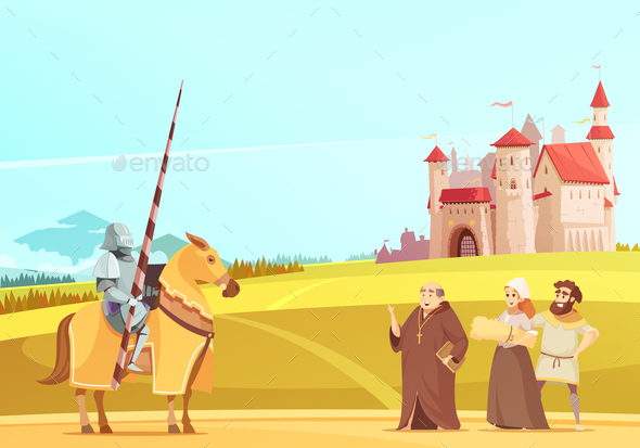 GraphicRiver Medieval Life Scene Cartoon Poster 20921295