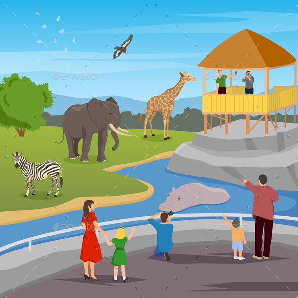 Zoo Flat Cartoon Composition - Animals Characters