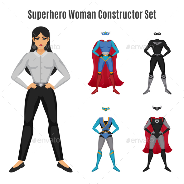 GraphicRiver Superhero Woman Constructor Set 20921307