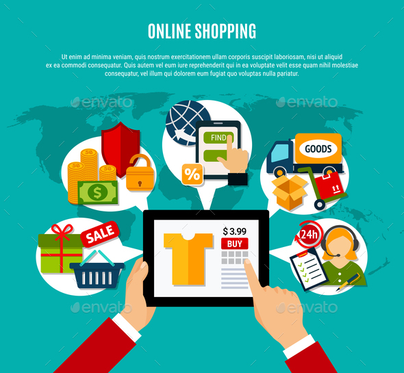 Internet Shopping Flat Composition - Business Conceptual