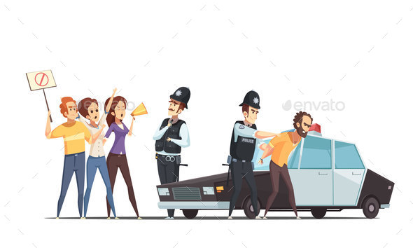 GraphicRiver Protesting Crowd And Police Design Concept 20921329