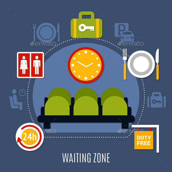 GraphicRiver .Airport Waiting Zone Flat Poster 20921330