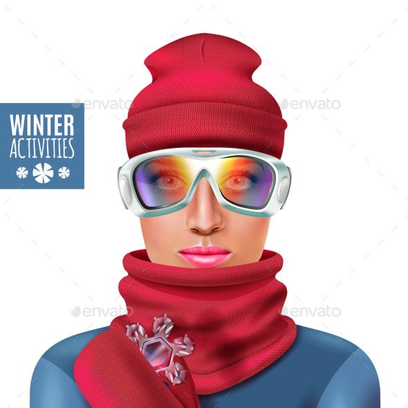 Ski Suit Winter Woman Composition - Sports/Activity Conceptual