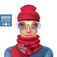 Ski Suit Winter Woman Composition