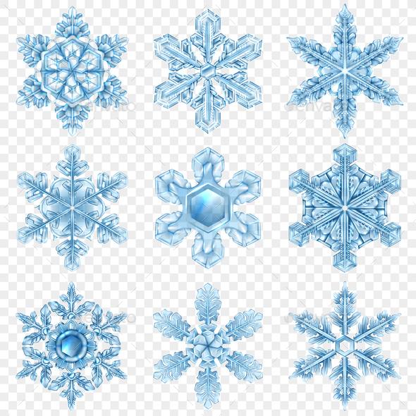 GraphicRiver Realistic Snowflake Icon Set 20921336