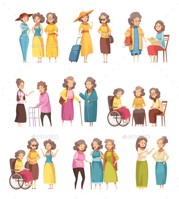 GraphicRiver Senior Women Cartoon Icons Set 20921358