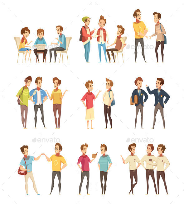 Teenage Boys Groups Cartoon Icons - Technology Conceptual
