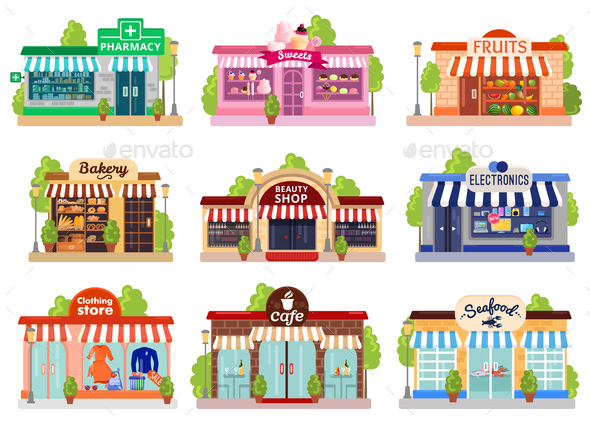 Store Facades Set - Food Objects