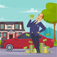 Rich Businessman Cartoon Composition