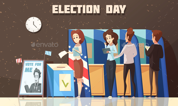 Politics Election Voting Cartoon Illustration - People Characters