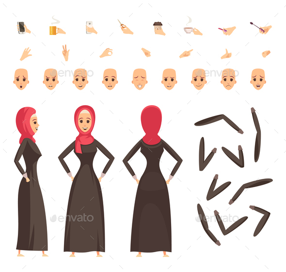 Arab Woman Constructor Set - People Characters