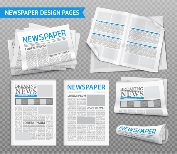 GraphicRiver Realistic Newspaper Transparent Set 20921388